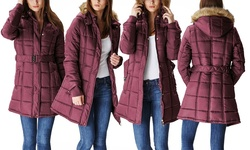 Glamsia Women's Belted Puffer Jacket w/ Fur-Lined Hood -Burgundy -Size: XL