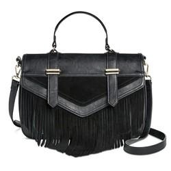 DV Women's Genuine Suede Fringe Top Handle Satchel Handbag - Black