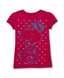 Snoopy Toddler Girls' Short Sleeve Tee - Pink - Size: 4T