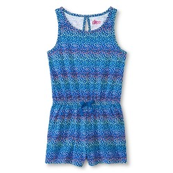 Circo Girls' Dot Print Romper - Cabana Blue - Size: Medium