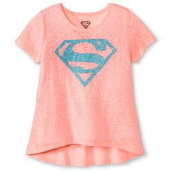 Warner Brothers Girls' Superman Short Sleeve Tee - Orange - Size: Medium