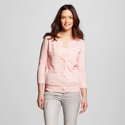 Merona Women's 3/4 Sleeve Slub Favorite Cardigan - Pink - Size: Medium