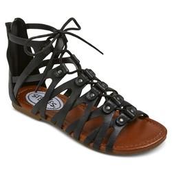 Stevies Girls' #trendy Ghillie Gladiator Sandal - Black - Size: 4