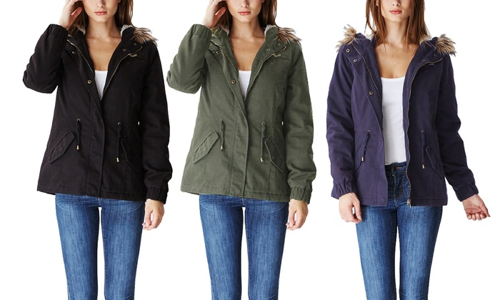7c8dda4772d Glamsia Women's Cotton Parka Jacket with Fur-Lined Hood - Navy ...