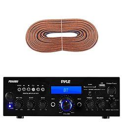 Pyle PDA6BU Amplifier Receiver Stereo, Bluetooth, AM/FM Radio, USB Flash Reader, Aux input (3.5mm) LCD Display, 200 Watt - Bundle With Enrock 50ft 16g Speaker Wire