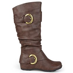 Brinley Co Women's Hilton-Xwc Slouch Boot, Brown Extra Wide Calf, 8.5 M US