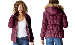 Glamsia Juniors' Puffer Jacket with Fur Lined Hood - Burgundy - Size: L