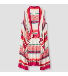 Xhilaration Girl's Striped Sweater Vest - Pink - Size: Medium