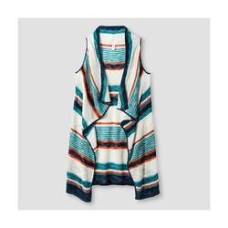 Xhilaration Girl's Striped Sweater Vest - Green - Size: Large