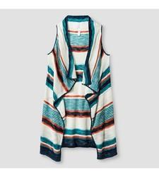 Xhilaration Girl's Striped Sweater Vest - Green - Size: Medium