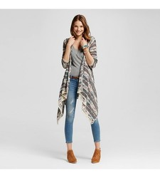 Mossimo Women's Long Sleeve Patterned Waterfall Cardigan - Gray - Size: S