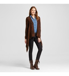 Mossimo Women's Long Sleeve Waterfall Cardigan - Brown - Size: XS