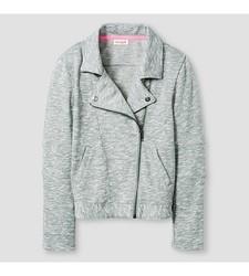 Cat & Jack Girl's Moto Jacket - Grey - Size: XS
