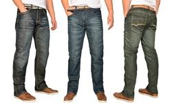 2-pack Men's Straight Fit  Denim Jeans With Belt: Ink Blue/black- 36/32