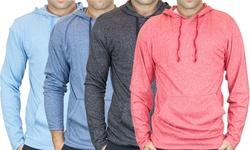 Men's LS Marled Pullover Hoodie: Black/Medium