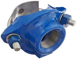 """Ductile Iron Stainless Steel 1-Strap 1-1/4"""" NPT Female Outlet Saddle Clamp"""