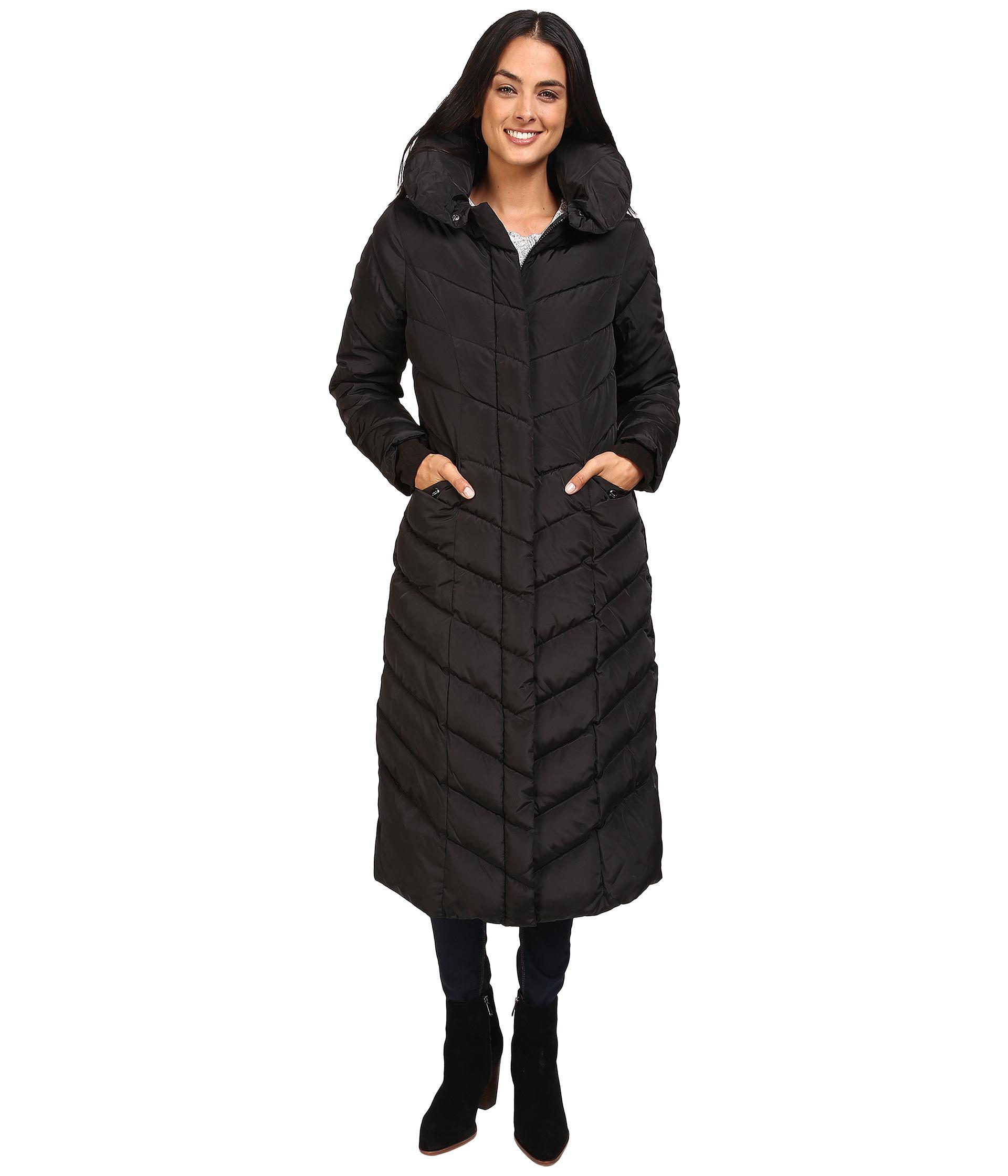 6dafb3463 Steve Madden Women's Maxi Hooded Chevron Puffer Coat - Black - Size ...
