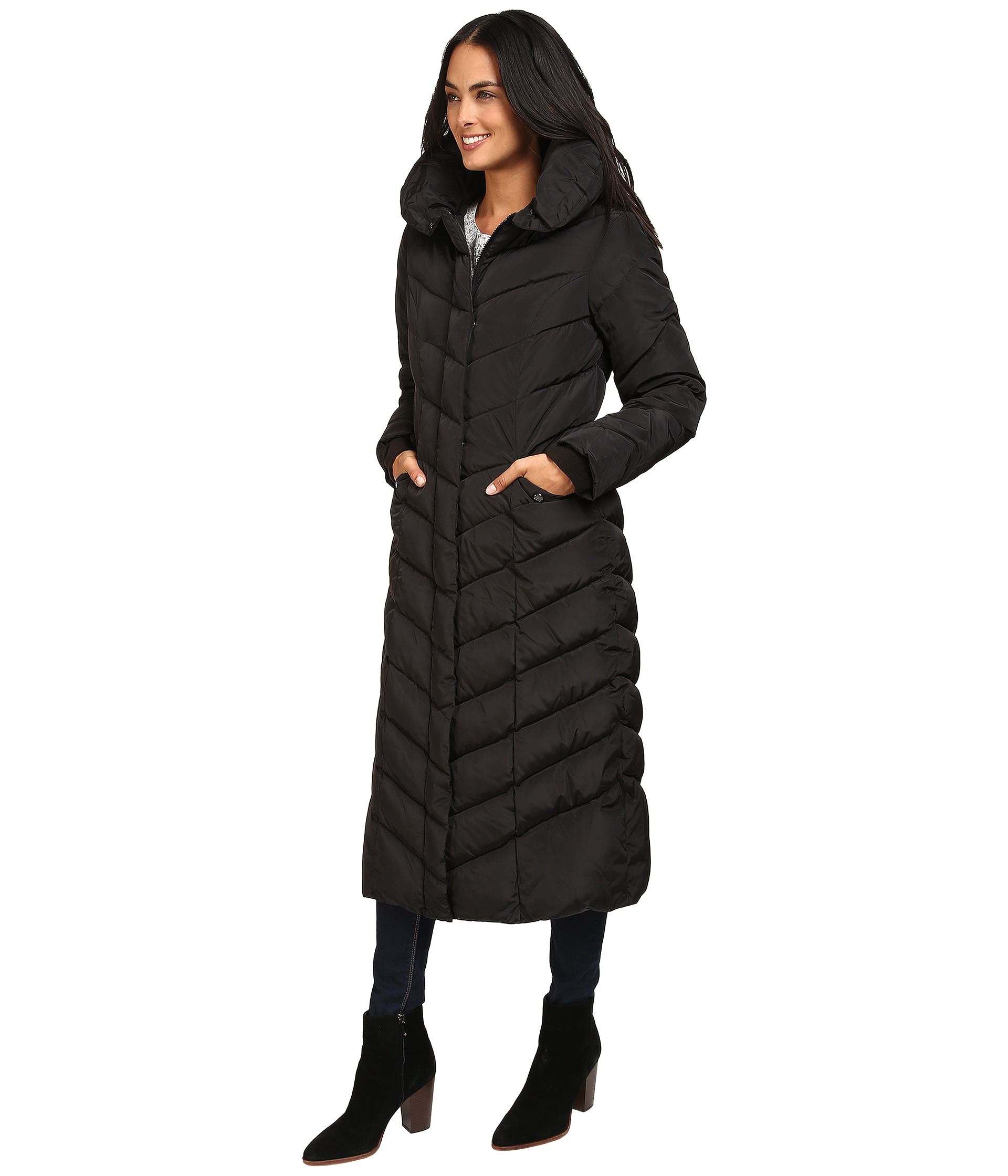 6dafb3463 Steve Madden Women's Maxi Hooded Chevron Puffer Coat - Black - Size ...
