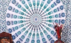 "Mandala Design 59"" x 82"" Tapestry - Green/Blue Ombre"