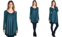 Women's Long Sleeve V-Neck Tunic Top - Teal - Size: Small
