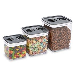 Squeeze-lid Airtight Storage Canister (3-piece): Square-grey