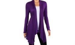 Women's Draped Spring Cardigan - Purple - Size: Small