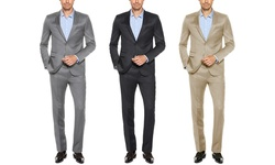 Verno Men's Classic Fit Sharkskin Suits: Silver/44Lx38W