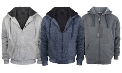 Lee Hanton Men's Full Zip Sherpa-Lined Fleece Hoodie - L Grey - Size: M