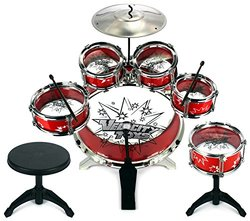 Velocity Toystm Kid's Musical Drum Play Set W/ 6 Drums: Red (11-piece)