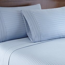 1000tc Egyptian Cotton Rich Sheets: Dobby Stripe-Light Blue/Full