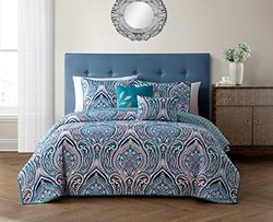 Reversible Quilt Sets (5- Piece): Adelle-teal/king