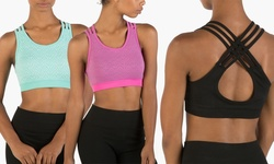 Form + Focus 2-pack Multi Strap Seamless Sports Bra: Black/mint S/m