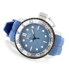 "Men's 50mm Pro Diver ""Medusa"" Quartz Silicone Strap Watch - Blue/Orange"
