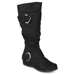Journee Women's Jester-01 Slouch Buckle Boot - Black - Size: 9