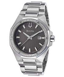 Mens Diamond Watch: 98d107xg/silver Band-black Dial