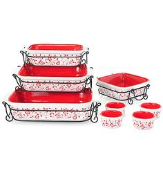 Cook's Companion 20-Piece Ceramic Bakeware Set - Red