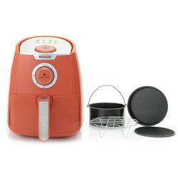 Paula Deen 3.5qt 1400w Manual Air Fryer W/ Accessories - Peach