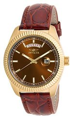 Invicta Women's Angel Quartz Stainless Steel Leather Strap Watch Brown Women's