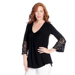 Glitterscape Women's Rhinestone Lace Sleeve Pleated Top - Black - Sz:Large