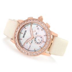 Invicta Women's Angel Dust Quartz Chrono Morganite Bezel Stingray Strap Watch White Women's
