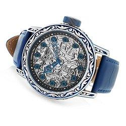 Ttv Invicta Men's Excalibur Swiss Made Quartz Leather Strap Watch W/ 8-slot Dc Blue Men's