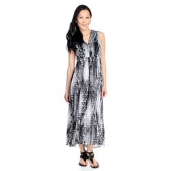 Kate & Mallory High Low Maxi Dress With Woven Overlay & V-neckline Black/white 2x