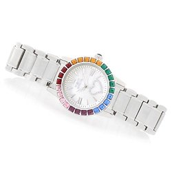 "Invicta Women's Angel ""hearts"" Quartz Crystal Bezel Mop Dial Bracelet Watch Silvertone Women's"