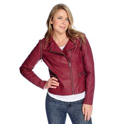 Kate & Mallory Pu Jacket With Texture & Stitch Detail & Zip Off Sleeve Wine Medium