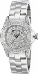 Invicta Women's Pro Diver Quartz Diamond Pave Dial Watch W/ Pink Collector Case Silvertone Women's