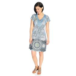 One World Flutter Sleeve Bling Medallion Flip Flop Dress Blue Multi Large