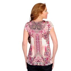 One World Micro Jersey Printed Top & Pointelle Back Cardigan Magenta XL