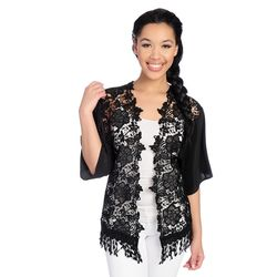 Kate & Mallory Open Shrug With Lace Black 2x