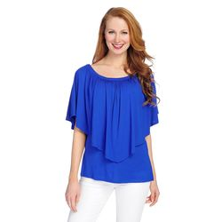 Kate & Mallory Off The Shoulder Elbow Sleeve Overlay Top With Side Slits Royal 2x