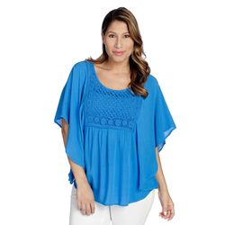 One World Lace Crochet Circle Top Blue Small